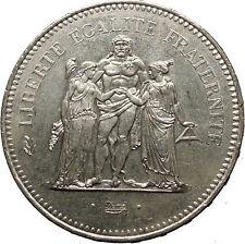1979 France Liberté, égalité, fraternité HERCULES 50 Francs Silver Coin i52427