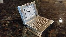 Miniature Silver Laptop Computer Quartz Desk Clock