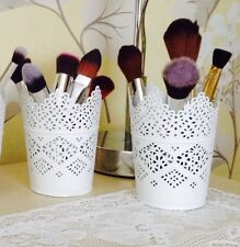 SET OF TWO Make Up Brush Holder Pots White/Candle Holders FREE POSTAGE & PACKING