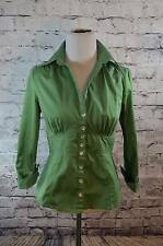 Banana Republic outlet kelly green cotton stretch fitted waist blouse shirt 4