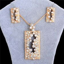 Gold/Silver Rhinestone Column Pendant Necklace Earrings Jewelry Set