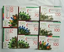Lot of 8 Christmas Lights 70 & 100 Mini Indoor Outdoor Light Set 14.8 ft & 20ft