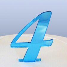 Numero 4 Sceneggiatura Blu Specchio Acrilico Decorazione Torta Circa 6cm-4cm