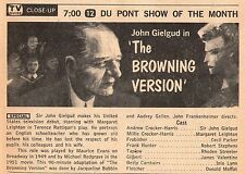 1959 Tv Ad~SIR JOHN GIELGUD~THE BROWING VERSION~DU PONT SHOW OF THE MONTH