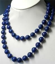 10mm Blue Lapis Lazuli Round Beads Necklace Length: 30 Inches--00