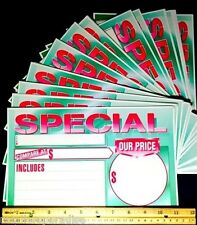 "50 BIG BRIGHT 11""X7"" FLUORESCENT SPECIAL SIGNS! WHOLESALE RETAIL STORE SUPPLIES!"