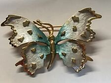 Vintage Enamel Pastelli Two Tone Silvery Blue Butterfly Pin / Brooch Gold Edges