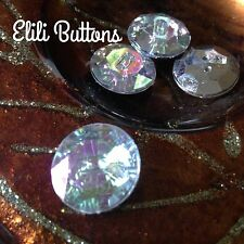 10 x Super-sparkly ' AB crystal' silver effect round buttons, 15mm