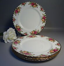 "(b) 4 Royal Albert Dinner Plates Pot Old Country Roses Gold Trim 10.5"" Diameter"