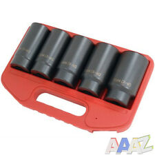 "5pc 1/2"" Drive Deep Impact Wheel Hub Nut Car Garage Socket Set 30 32 34 35 36"