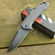 Kershaw Link Blackwash 420HC Tanto Gray Aluminum Handle Knife 1776TGRYBW