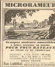 SAINT-OUEN ETS LABINAL MOTEURS POUR BATEAUX MICRORAMEUR PUBLICITE 1931