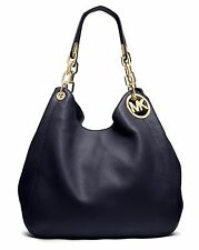 Original Michael Kors Tasche/Bag  Fulton LG Shoulder Tote HOBO Leder Navy NEU!