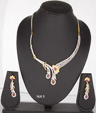 Indian Fashion Jewelry Bollywood Bridal American Diamond Necklace Earrings Sets