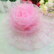 New 5 yards 65mm Pink Organza Lace Gathered Pleated Sequined Trim U125