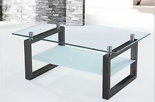Glass Coffee Table with 8mm Toughened  Frosted Glass Shelf Black MDF Legs