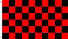 RED and BLACK CHECK FLAG 5' x 3' Checkered Checked