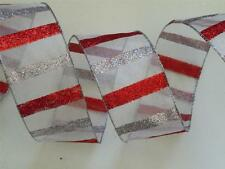 Sparkle Red Silver Stripes Christmas Wedding Holiday Wreath Bow Wired Ribbon 5yd