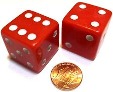 2x JUMBO Dice Six Sided D6 25mm Standard Square Edged Die RED With White Pips