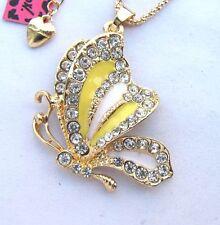 Betsey Johnson crystal/yellow enamel Beautiful butterfly Pendant necklace#266L Y