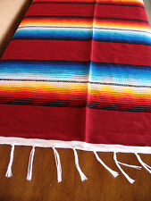 Serape ONWS-Maroon Blanket Table Cover Seat Cover Throw Mexican Design 5' X 7'
