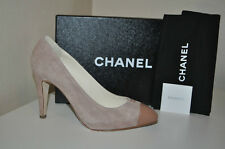 NIB CHANEL S 40 Beige Rose Pink Suede Leather CC Logo Pointy Toe Heel Pump Shoes