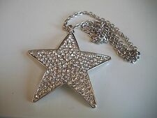 Silver Finish Hip Hop Bling Rapper Style Fashion STAR Pendant with Chain