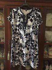 Chaps By Ralph Lauren Floral Navy/White NWT~Lace Up Front Dress~ Size L