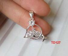 A 925 Silver Clear  CZ Dolphin Necklace Pendant