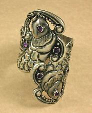 Vintage Taxco Sterling Silver Cuff Bracelet With Amethyst Hinged