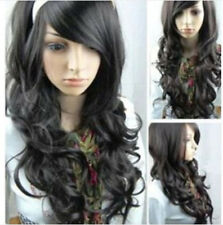 Fashion Women's Heat Resistant Long Black Curly Cosplay Hair Full Wig Wigs