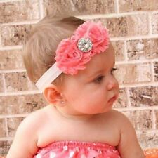 Pretty Baby Girls Cotton Two Red Roses Crystal Diamond Hairband Photography