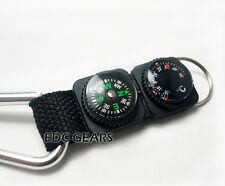 2X EDC Mini Compass  Multifunctional Hiking Carabiner Thermometer Keychain