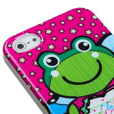 For iPhone 5 5s SE Pink Cute Frog TPU Silicone Rubber Skin Phone Case Cover