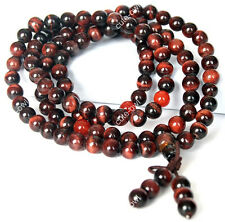 6mm Red Tiger's Eye 108 Tibet Buddhist Mala Prayer Beads Amulet Bracelet