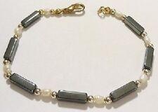bracelet bijou rétro perle hémathite perle baroque blanche couleur or * 4383