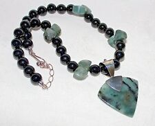 "JAY KING Black Agate Beaded .925 Sterling Silver 18"" + 3"" Pendant Necklace NWT!"