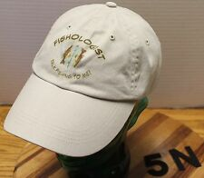 "FISHOLOGIST ""TALK FISHING TO ME"" ""HERE FISHY FISHY..."" BEIGE ADJUSTABLE HAT VGC"