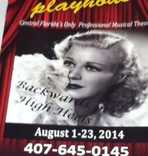 GINGER ROGERS Backwards In High Heels program Winter Park Playhouse Florida