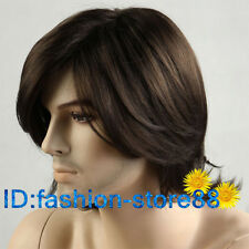 Fashion Men's man Medium long Dark Brown Cosplay Natural Hair Wigs+free wig cap
