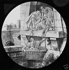 Glass Magic Lantern Slide PAUL LET DOWN IN A BASKET C1910 CHRISTIAN RELIGION