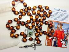 Saint Roch or Rocco brown relic rosary  against knee problems, pilgrims, dogs