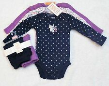 Carter's Just One You Newborn Baby Girl 3 Bodysuits & 2 Pants Fox NWT