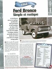 Ford Bronco 4X4 Jeep 6 Cyl. 1966 USA Car Auto Retro FICHE FRANCE
