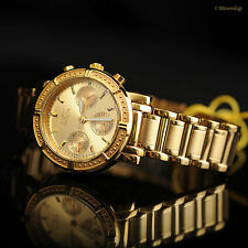 Invicta Women's Wildflower 18k GOLD Pltd SWISS Pts Date $595 Ladies Gold Watch