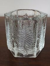 "Single Light Crystal Candlestick 3"" Votive with Evergreens"
