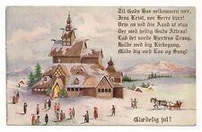 OLD VINTAGE MERRY CHRISTMAS CARD POSTCARD CHURCH PEOPLE FAMILY FRIENDS SLEIGH