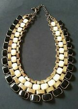 Vintage Roman Collar Necklace Gold Tone Black Cream Links Stage Costume Jewelry