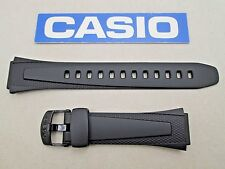 Genuine Casio W-752 W-753 W-755 black resin rubber watch band strap 18mm lug