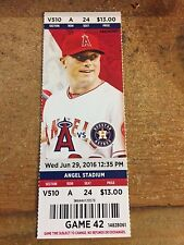 2016 LOS ANGELES ANGELS VS HOUSTON ASTROS TICKET STUB 6/29 GEORGE SPRINGER HR